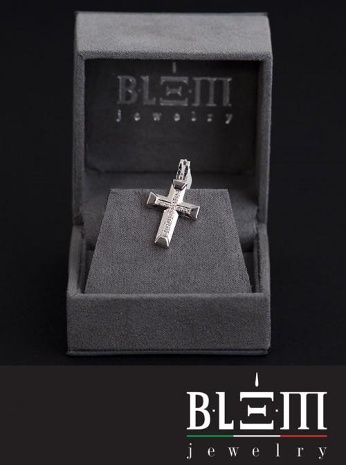 Gioiello Blem Croce Piccola in Oro Bianco e Diamanti BLM 27